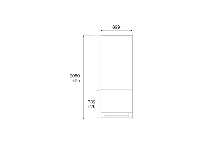 90 cm Built-In Bottom Mount, Panel Installed Left hinges | Bertazzoni