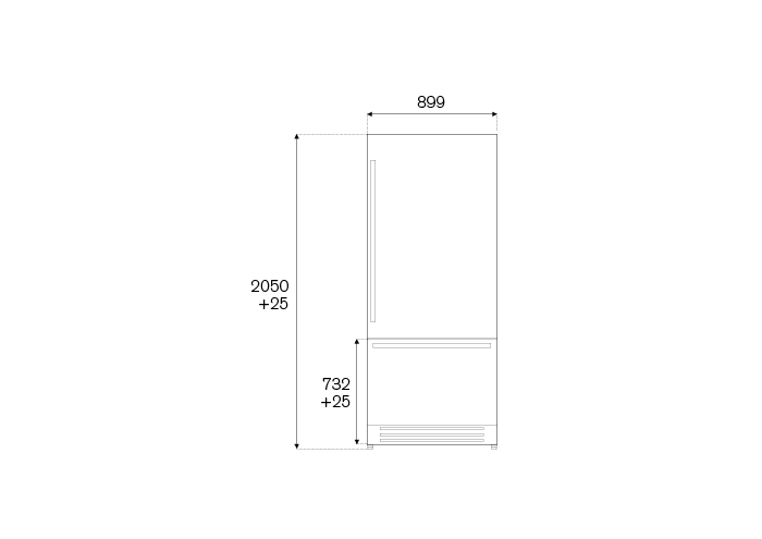 90 cm Built-In Bottom Mount, Panel Installed Right hinges | Bertazzoni