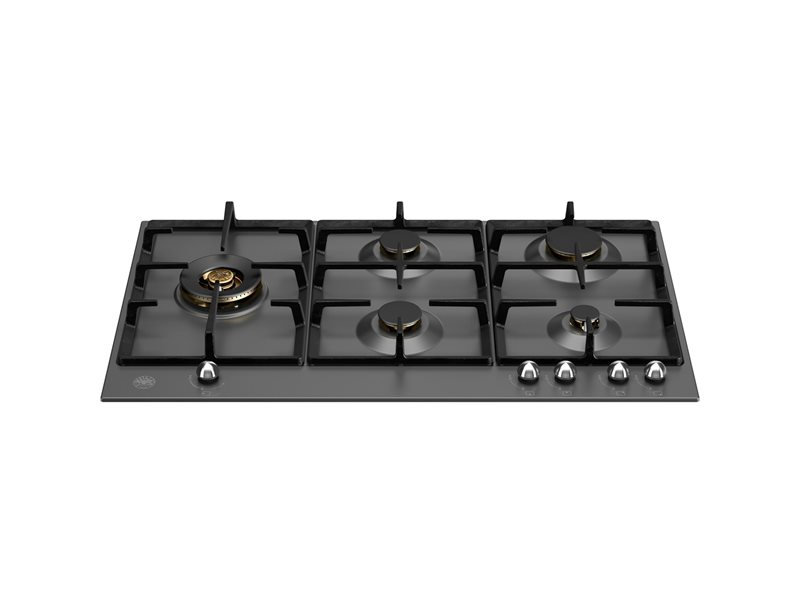 90 cm Gas hob with lateral dual wok | Bertazzoni - Matt Black