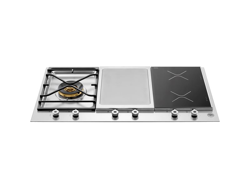90 3-segment 1-burner gas/griddle hob/induction hob | Bertazzoni - Stainless