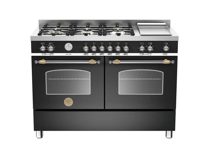 120 cm 6-burner+griddle, electric double oven | Bertazzoni - Matt Black