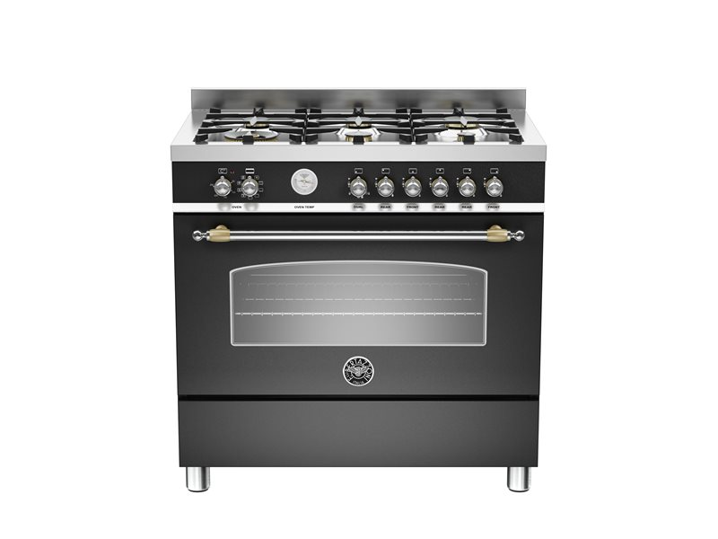 90 cm 6-Burner, Electric Oven | Bertazzoni - Matt Black
