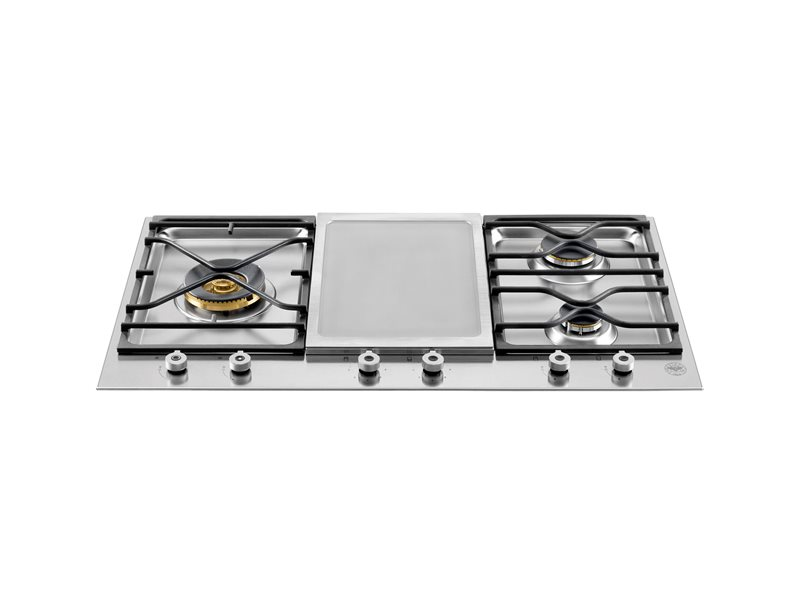 90 3-Segment 3-Burner Gas/Griddle hob | Bertazzoni - Stainless Steel